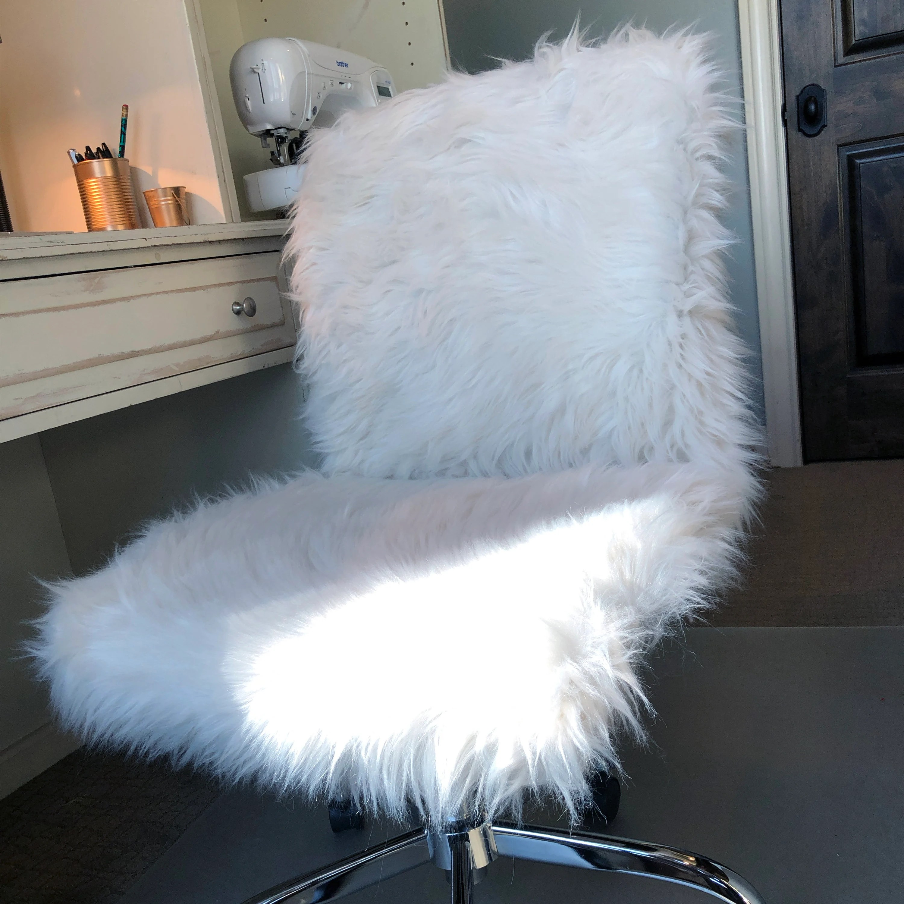 faux fur chair cover posture brace for office