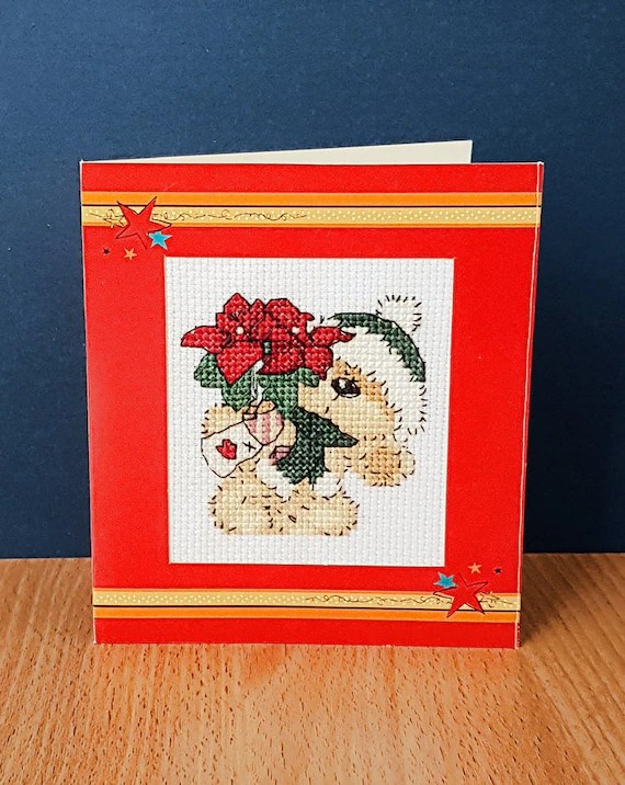 Teddy Christmas Card 'With a Poinsettia' in Cross Stitch