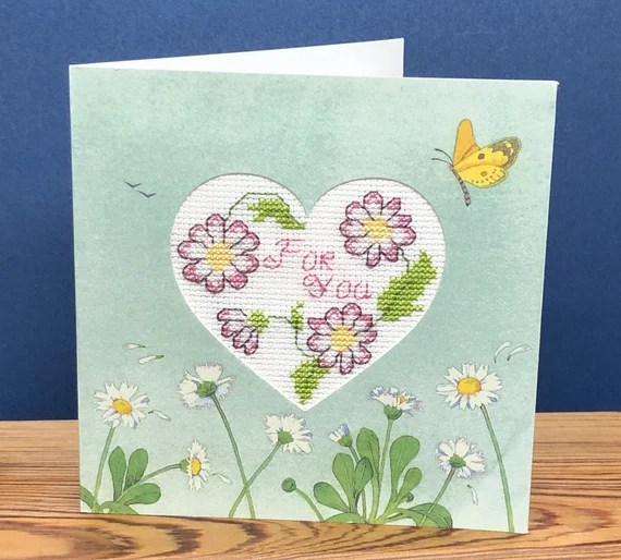 Completed Card: A message from the heart just 'for you' in Cross Stitch.