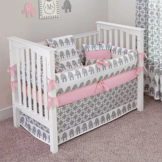 Hand Made Pink Grey Elephant Crib Set by SofiaBedding