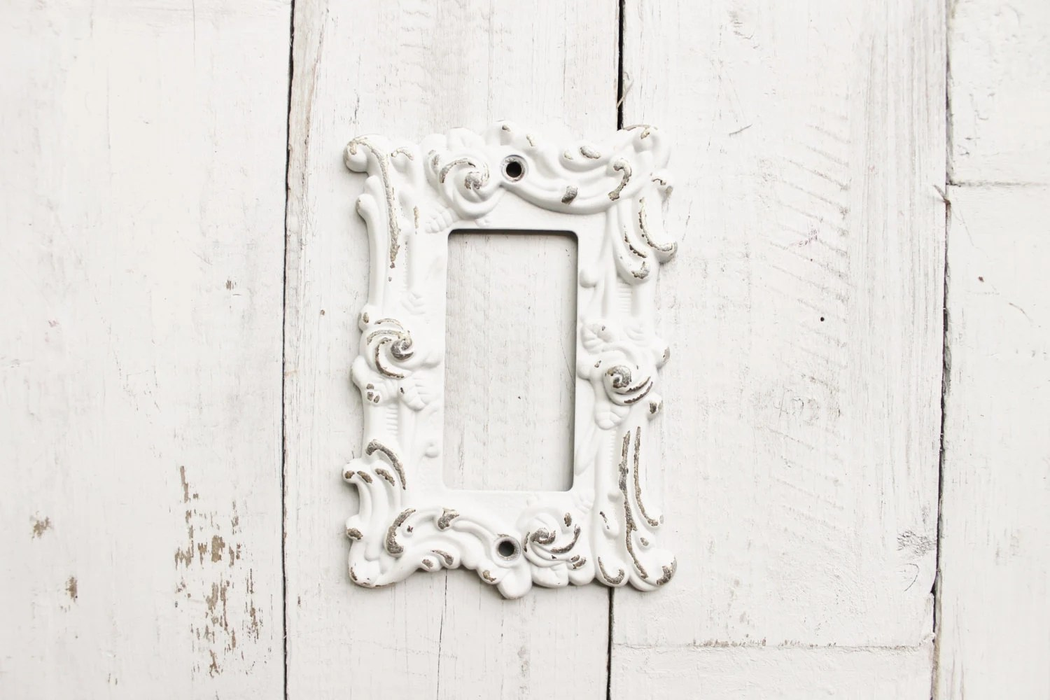 Metal Wall Decor Light Switch Cover In Shabby White Gfi