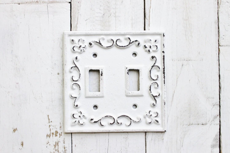 Double Light Switch Cover Plate Cast Iron Fleur De