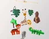 Jungle Mobile Sewing Pattern, Safari Animal Nursery Mobile Decor, DIY Nursery Mobile, Giraffe, Tiger, Zebra, Elephant, Monkey, Crocodile PDF