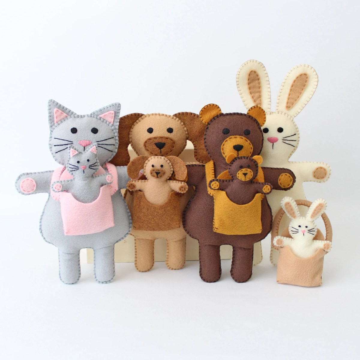 Mums and Babies Stuffed Animal Sewing Patterns, Felt Hand Sewing Teddy Bear Bunny Cat Dog and Infant Carriers, Mother and Baby