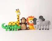 Jungle Safari Animal Patterns, Easy Hand Sewing Pattern for Felt Giraffe Elephant Crocodile Monkey & Lion, Plush Softies, Sew Stuffed Animal