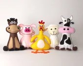 Farm Animal Sewing Patterns, Felt Stuffed Barnyard Animal Patterns, Plush Cow, Chicken, Sheep, Pig & Horse, Easy Hand Sewing Farm Animals