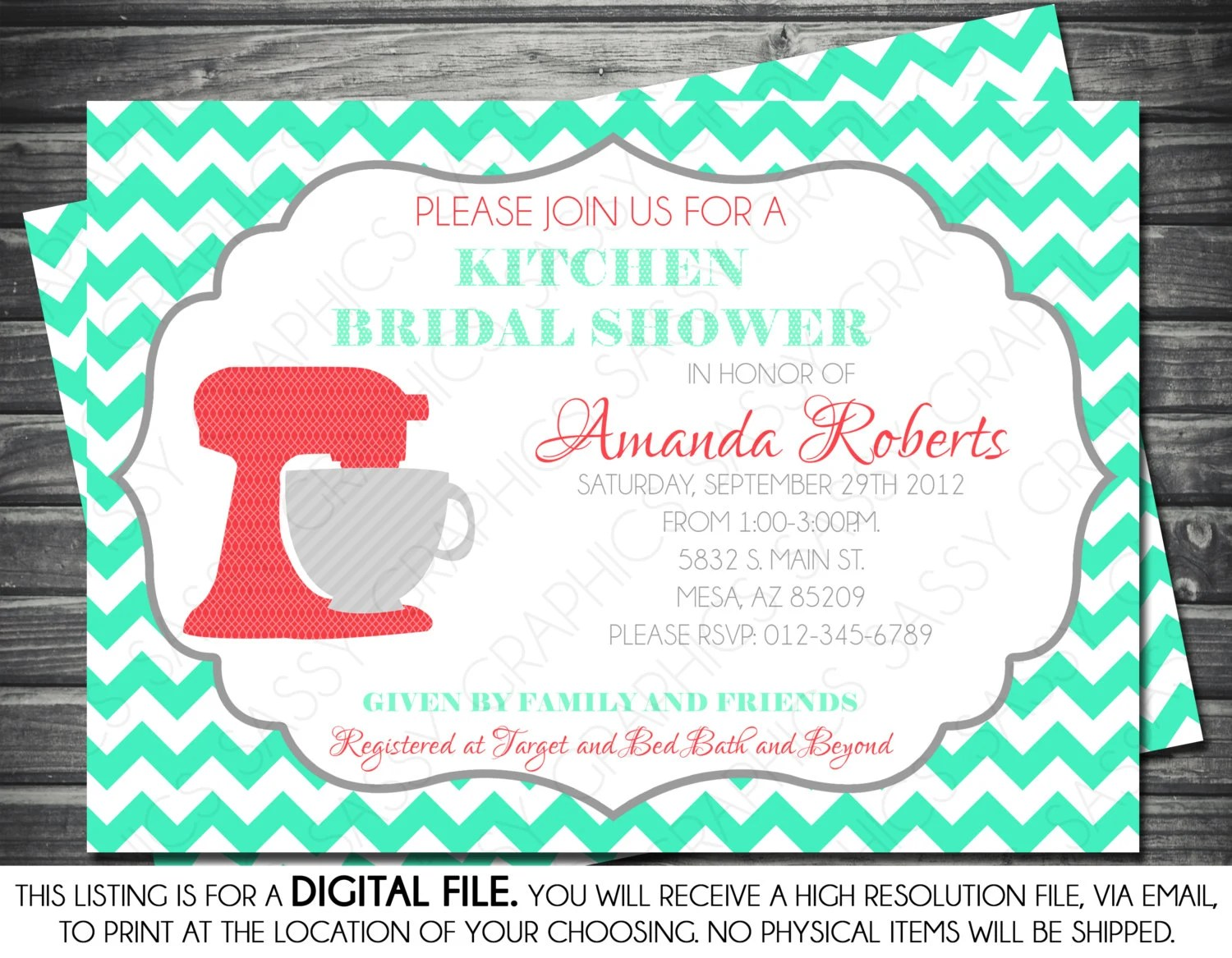 kitchen bridal shower bay window seat table invitation chevron polka dots mint coral il 570xn