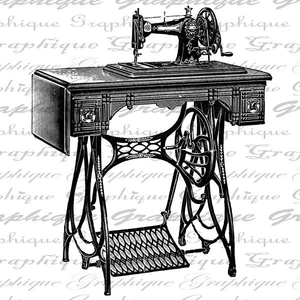 Antique Sewing Machine Digital Image Download Transfers To