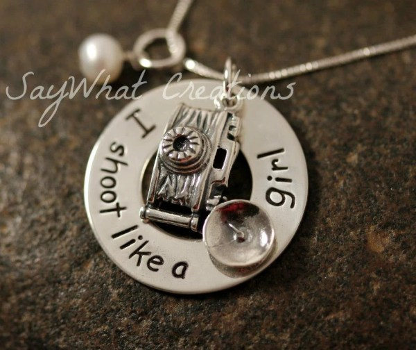 Custom Hand Stamped Sterling Silver Camera