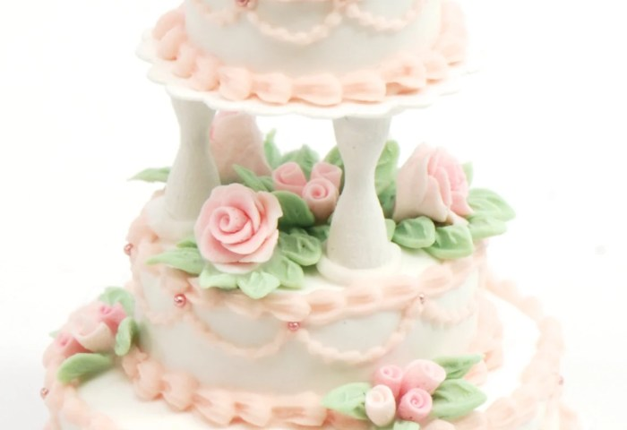 Dollhouse Miniature 112 Scale 3 Tier Wedding Cake With Pink Etsy