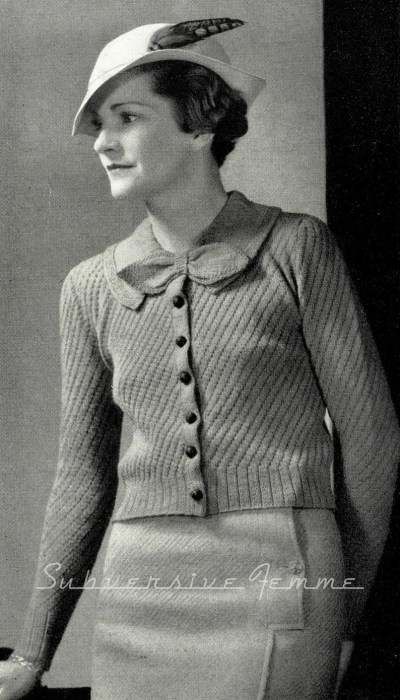 1930s Diagonal Stitched Cardigan with Bow Vintage Knitting Pattern