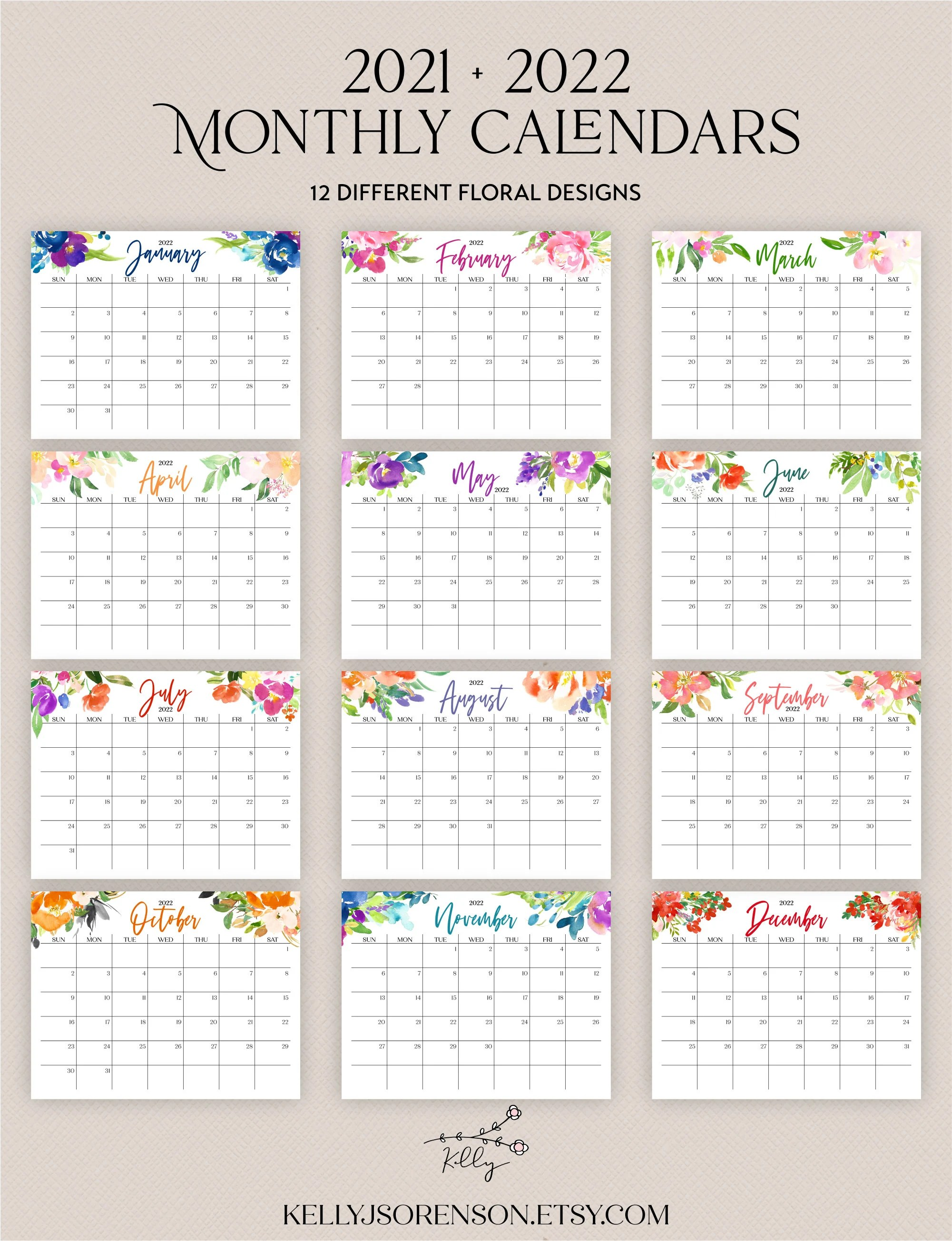 2021 2022 Printable Editable Calendar Bundle includes ...
