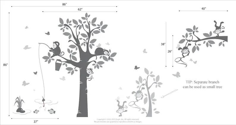 Playing Monkeys Wall Decal Nursery Wall Decals Acrobatic