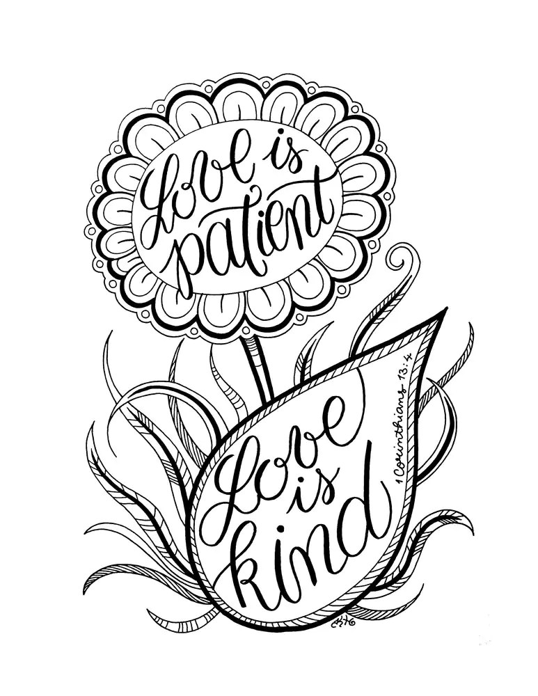 LOVE is PATIENT love is KIND Adult Coloring Page Flower
