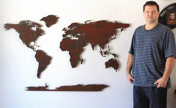 world map metal wall art wide x tall etsy