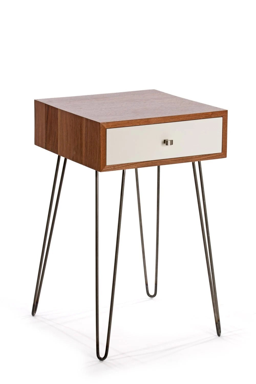 Newton Minimialist Nightstand Black Walnut Lacquer White Mid Century Industrial Chic Modern Side Table Bedside Table End Table Drawer