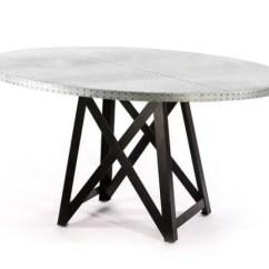 Zinc Kitchen Table Design Template Uptown Steel Ring Top Dining Round Etsy Pedestal