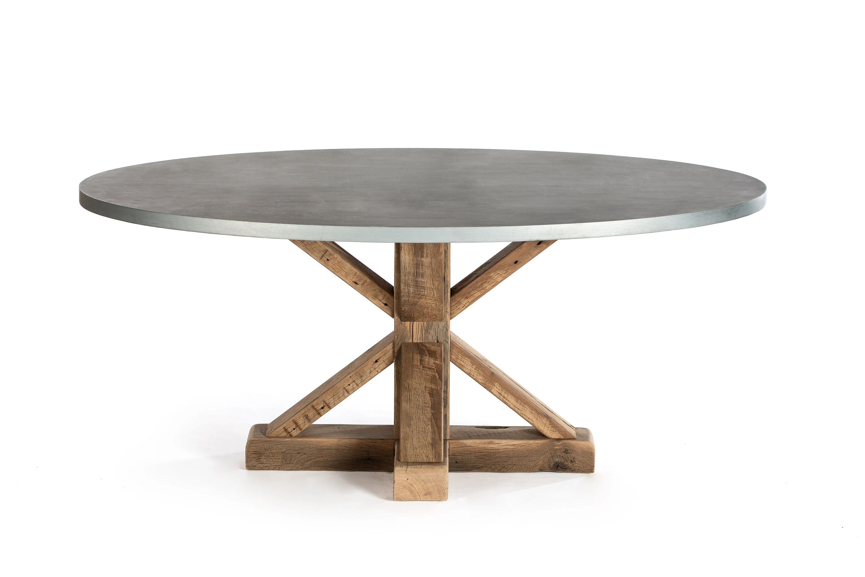 zinc kitchen table tall bags size french trestle oval top dining pedestal etsy 50