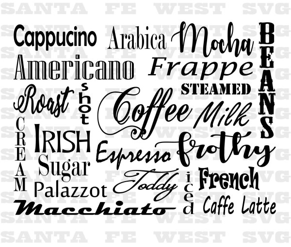coffee word art svg cricut silhouette