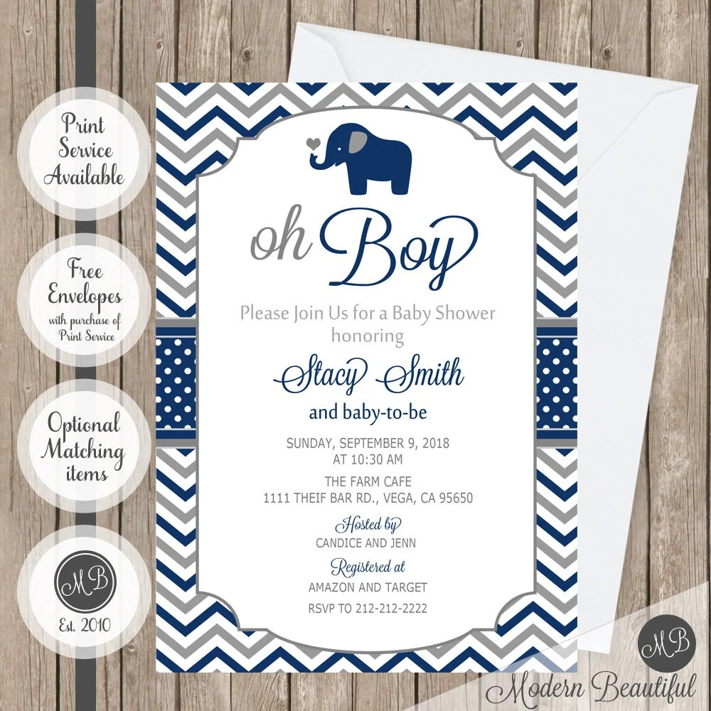 Kirin_photo / getty images these free baby shower invitations look so good that none of yo. Elephant Oh Boy Baby Shower Invitation Navy And Gray Chevron Etsy