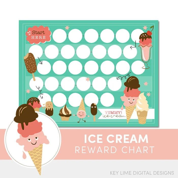 Kids reward chart ice cream chore for incentive also etsy rh