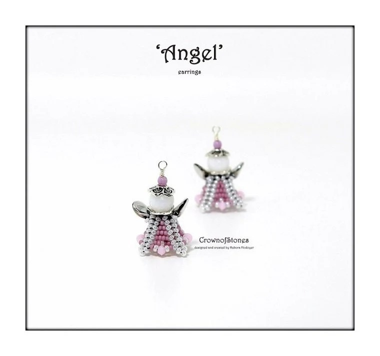 Bead pattern beaded Angel earrings ornament with seed