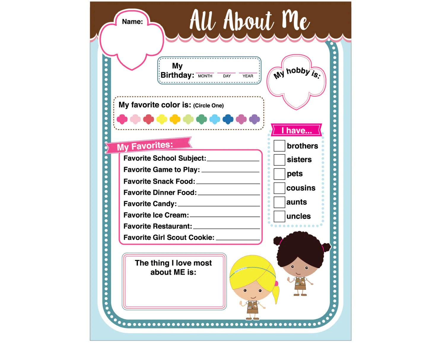 Brownie Girl Scout Activity All About Me Printable Instant