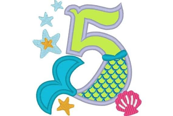 Mermaid Tail Birthday Number Mermaid Number FIVE 5 Applique