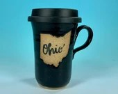 Ohio Travel Mug in Black // Handmade Ceramic Mug // Gifts  for Ohioans, Travelers or College Students - READY TO SHIP