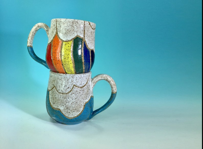 Rainbow and Clouds Mug // Hand-Carved Mug with Rainbow and Blue Sky // Handmade Ceramic Mug // Spring // Pride // Love - READY TO SHIP