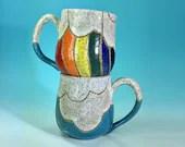 Rainbow Mug - Rainbow and Clouds // Hand-Carved Mug with Rainbow and Blue Sky // Handmade Ceramic // Spring // Pride // Love - READY TO SHIP