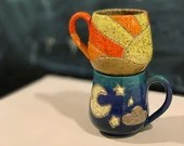 Sunny Day or Starry Night Mug // Hand-Carved Mug with Sun, Moon and Skies // Handmade Ceramic Mugs or Cups - READY TO SHIP