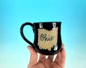 "Ohio Mug in Black Gloss // Handmade Ceramic Mug with ""Ohio"" // Gifts  for Ohioans, Travelers or College Students - READY TO SHIP"