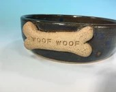 "Denim Blue Dog Bowl with ""Woof Woof"" Bone // Medium Handmade Dog Food Dish // Gifts for Dogs or Dog Lovers - READY TO SHIP"