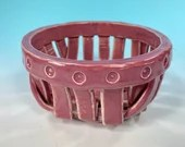 Round Pink Woven Ceramic Basket // Spring Basket // Serving Bowl, Decorative Basket, Bread Basket // Housewarming Gifts - READY TO SHIP