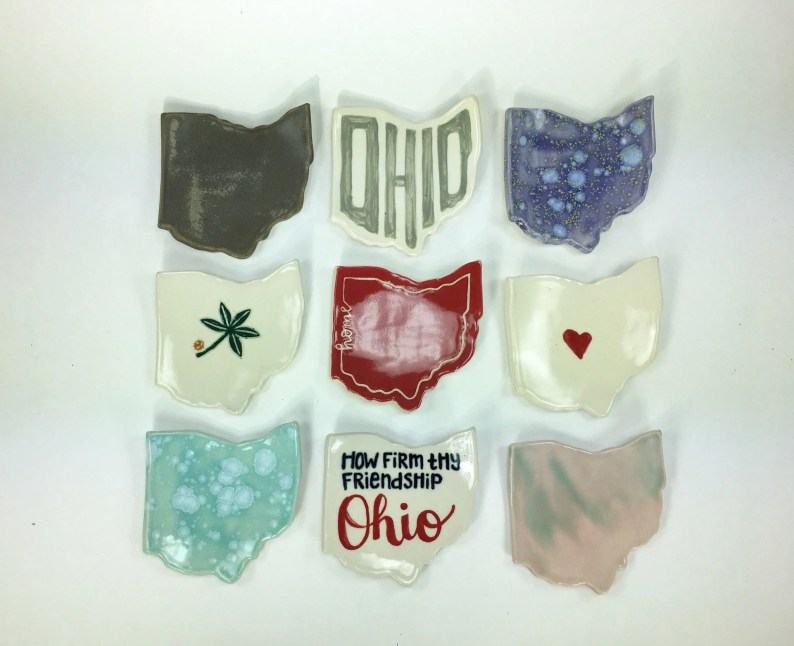 Ohio Trinket Dish Hand-painted in Various Designs // Spoon Rest, Candle Holder, Jewelry Tray or Soap Dish // Gifts for Her - READY TO SHIP