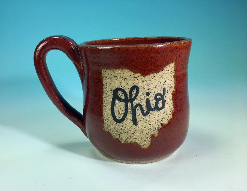 """Ohio Mug in Red // Handmade Ceramic Mug with """"Ohio"""" // Gifts  for Ohioans, Travelers or College Students - READY TO SHIP"""