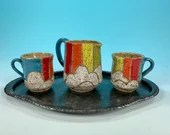 Miniature 4-Piece Ceramic Iced Tea Service with Tray // Rainbow design // For Teddy Bear Tea Parties, Children and Girls- READY TO SHIP