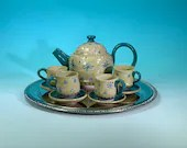 Miniature 10-Piece Ceramic Tea Service // Hand-Painted in Teal and Flowers // For Teddy Bear Tea Parties, Children and Girls - READY TO SHIP