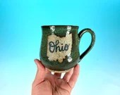 "Ohio Mug in Blue-Green // Handmade Ceramic Mug with ""Ohio"" // Gifts  for Ohioans, Travelers or College Students - READY TO SHIP"