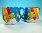 Rainbow, Clouds and Shamrocks Mug // Hand-Carved St Patrick's Day Mug // Handmade Ceramic Mug // Spring // Pride // Love - READY TO SHIP