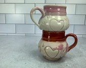 Curvy Pink and Red Demitasse or Kids Mugs with Dainty Heart Detail // Valentines Day // Hearts // Love // Wheel-Thrown - READY TO SHIP