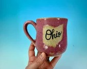 "Ohio Mug in Pink // Handmade Ceramic Mug with ""Ohio"" // Gifts  for Ohioans, Travelers or College Students - READY TO SHIP"