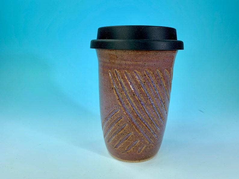 Carved Lines Travel Mug in Lavender // Handmade // for Coffee, Cocoa & Tea Lovers // Microwave and Dishwasher Safe - READY TO SHIP