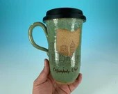 Columbus, Ohio Skyline Travel Mug in Green // Handmade Ceramic Mug // Gifts  for Ohioans, Travelers or College Students - READY TO SHIP
