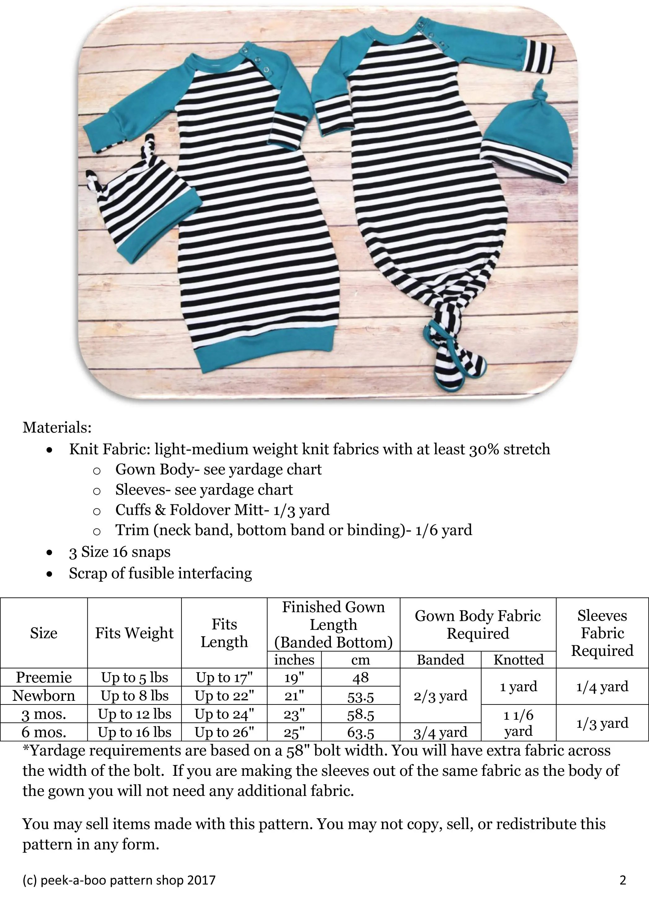 Sew On Snaps Size Chart : snaps, chart, Lullaby, Knotted, Sewing, Pattern: