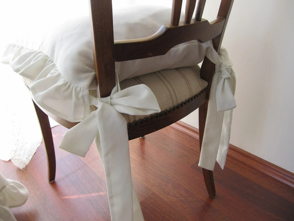 chair cushions with ties french country crocker company ruffle linen cushion covers 3 etsy image 0