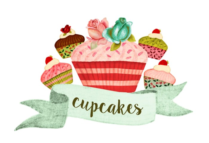 Cupcake Clipart Bake Goods Clipart Party Clipart Watercolor Etsy