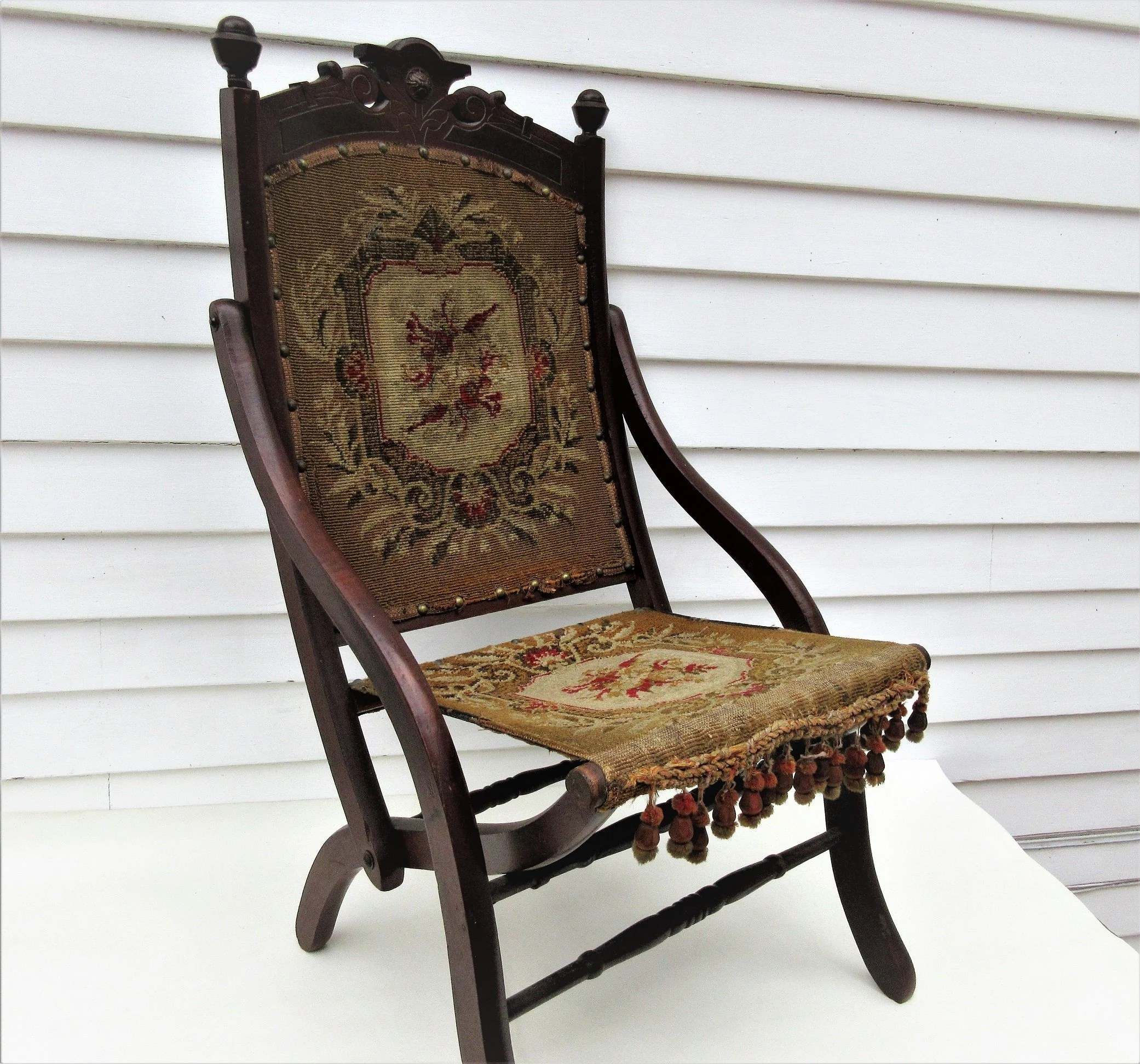 Collapsible Chair Antique Folding Chair Campaign Chair Tapestry Chair Victorian Folding Chair Collapsible Chair Travel Chair