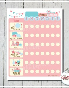Printable afternoon routine chart for kids daily pink editable name also bedtime etsy rh